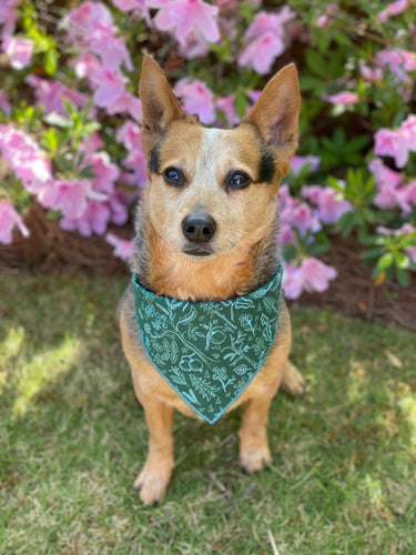 Green Woodland tie on Dog Bandana