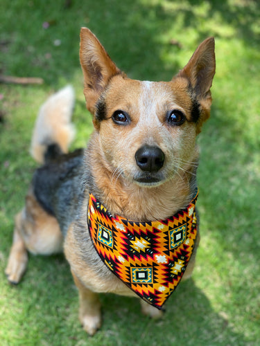Tie On Sunburst Aztec Dog Bandana