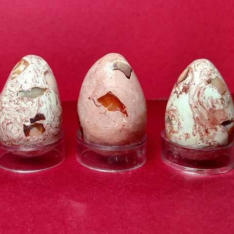 Fire Opal In Rhyolite Eggs With Stands