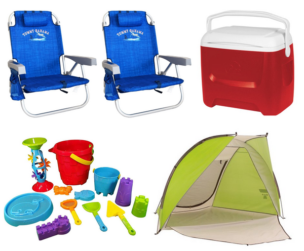 Two beach chairs, baby beach toys, cooler, and family beach tent