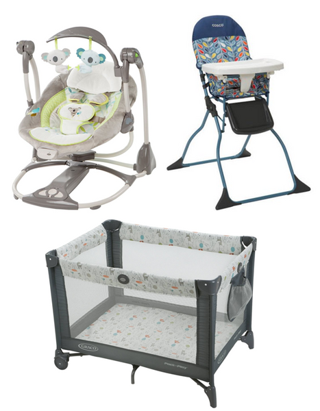 pack and play, baby swing, baby highchair