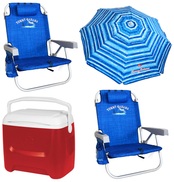 Beach Essentials Package - two beach chairs, beach umbrella, cooler