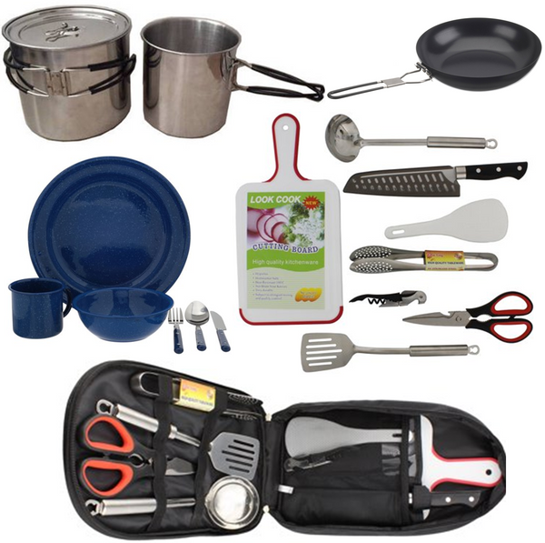 Maui camping cookware stove and dining set for Hana