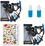 Maui Snorkel set discount package - mask, fins, snorkel, anti fog, fish id card