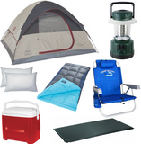 Maui Camping Rental Equipment with Tent, sleeping bag, cooler, Pillow, lantern, chair and sleeping pad
