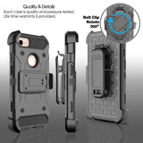 4 in 1 Heavy Duty Hybrid Durable Armor Case Shockproof Holster+Belt Clip 360 Kickstand Hard Cover For Apple iPhone 7 / 7 Plus @ - Goodman Electronics Outlet