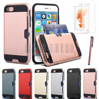 Hybrid Brush Armor Case With Card Slot HolderFor Apple iPhone 7 - Goodman Electronics Outlet