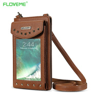 FLOVEME Wallet Leather Case For iPhone Women Handbag with Belt Handbag - Goodman Electronics Outlet