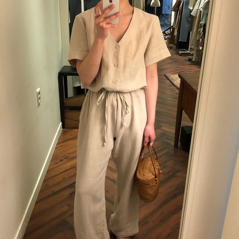 George V-neck Jumpsuit Full Piece