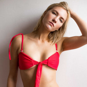 Chloe Tie Front Bandeau Top - Strawberry