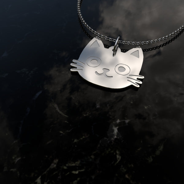 Cat Face Necklace - Solid .925 Sterling Silver