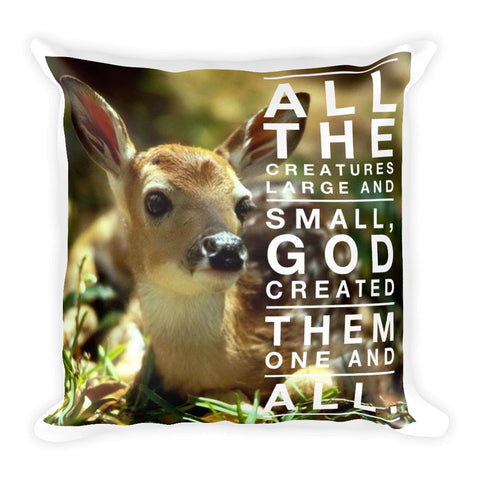 All The Creatures Square Pillow