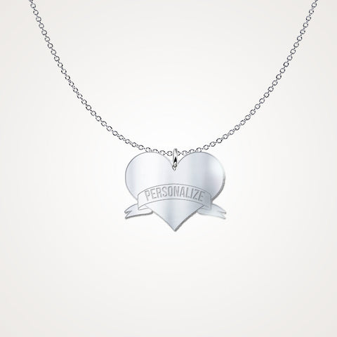Personalized Heart Necklace - .925 Solid Sterling Silver Add Any Name!