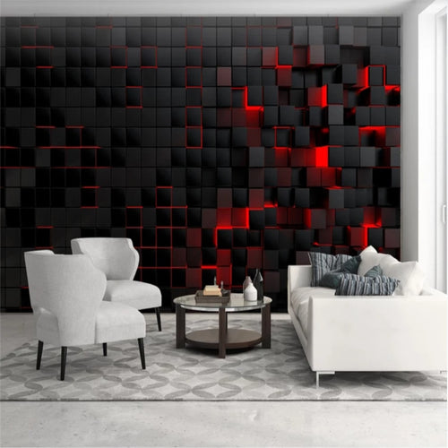 3D Red Light Shining Black Cubes Wall Mural Wallpaper Home Decor