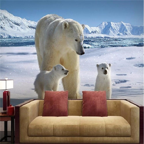 Custom Wallpapers High Quality Lovely Iceberg Polar Bear Living Room Sofa Mural Modern Home Decorative Background