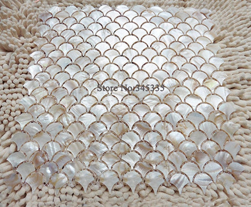 11PCS natural fish scale fan shape shell mosaic tile mother of pearl wallpaper kitchen backsplash  shower bathroom wall tiles