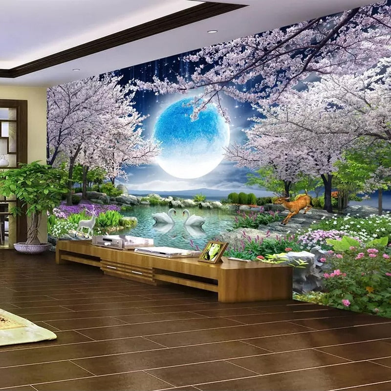 Custom Mural Wall Paper Moon Cherry Blossom Tree Nature Landscape Wall Painting Living Room Bedroom Photo Wallpaper Home Decor
