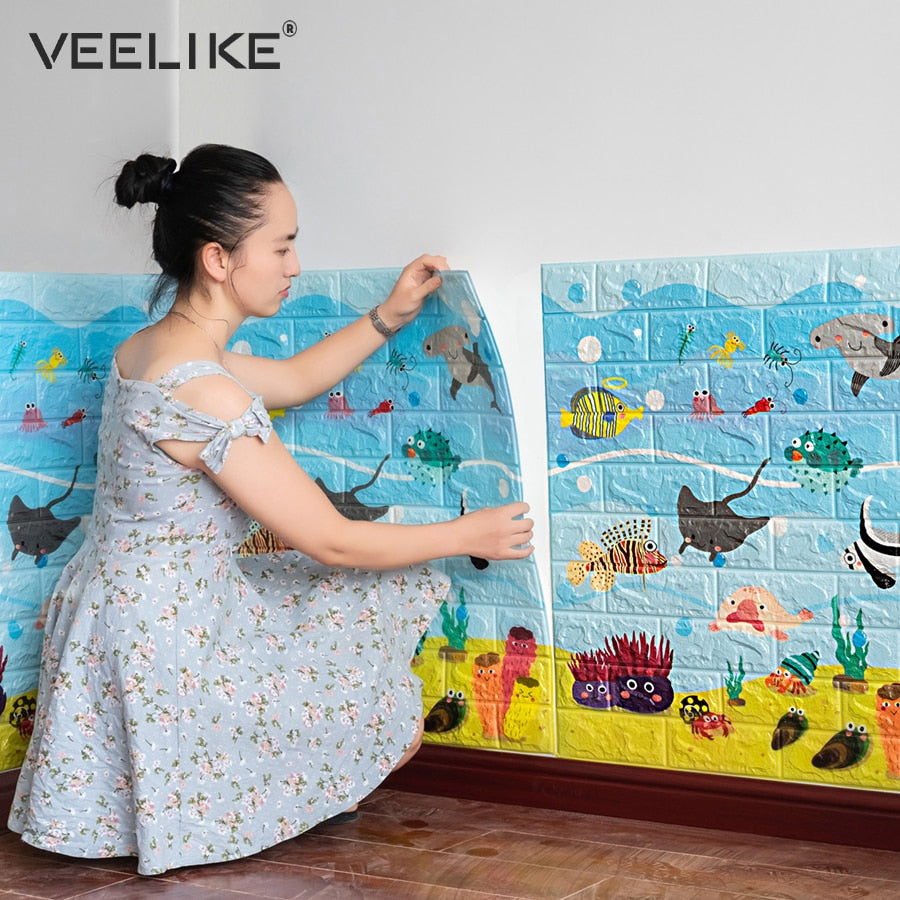 Anti Collision 3d Wall Stickers For Kids Room Decor 3d Brick Wallpaper For Living Room Bedroom Decor Self Adhesive Wall Paper