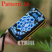 Hmong Handmade Ethnic Flowers Embroidered Women Long Wallet Day Clutch Purse Famous Brand Logo Wallet Women Sac a Dos Femme