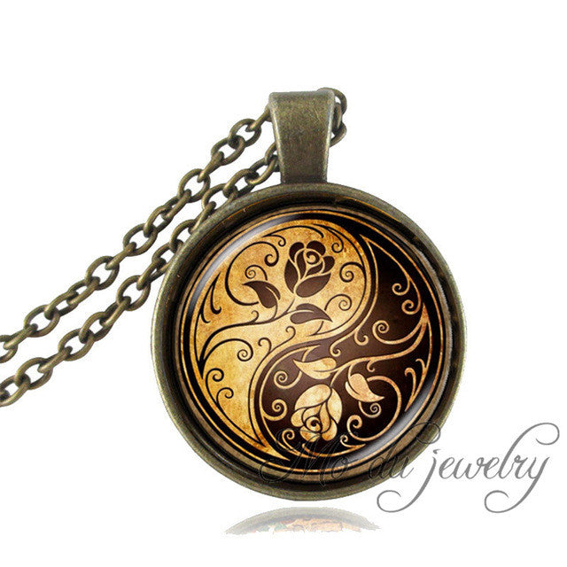 Floral Yin Yang OM Pendant Necklace