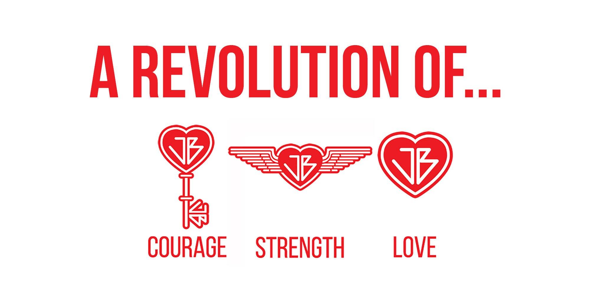 The Just Be Revolution Logo Key Courage Wings Strength Heart Love
