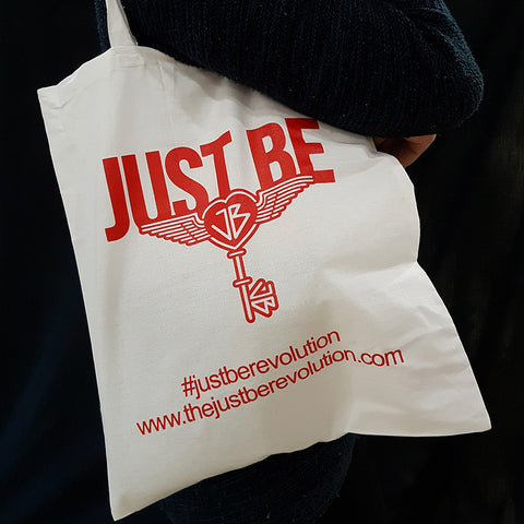The Just Be Revolution Cotton Tote Bag White Red Logo