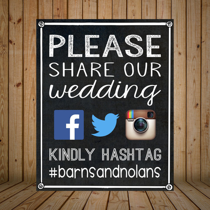 Hashtag Wedding Display // Social Media Wedding Sign // Facebook, Twitter, Instagram