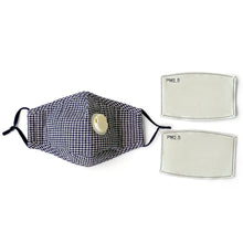 Reusable Cloth Face Mask with Valve + 2 Filters - Black and White Houndstooth - Washable