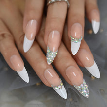 Press On Nails - French Tip Accent Long Stiletto Almond False Stick On Manicure