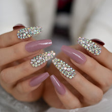 Press On Nails - Mauve Jewelry Accent - Long Coffin False Tips Stick On Manicure