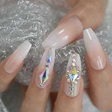 Press On Nails - Nude Ombre Diamond - Long Coffin False Tips Stick On Manicure