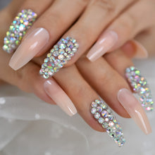 Press On Nails - Peach Nude Accent - Long Coffin False Tips Stick On Manicure