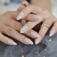 Press On Nails - Light Pink Accent - Almond Shape - Stick On Manicure Set