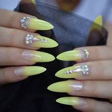Press On Nails - Yellow Ombre Tip - Long Stiletto Almond False Stick On Manicure