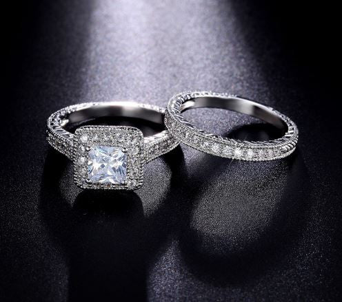 Alina Princess Cut Diamond CZ Ring Set - Bella Artisan Jewelry