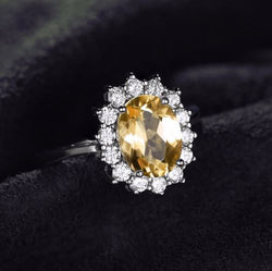 Citrine Princess Diana Style Engagement Ring