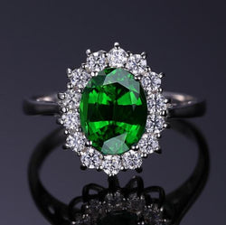 Emerald Princess Diana Style Engagement Ring - Bella Artisan Jewelry