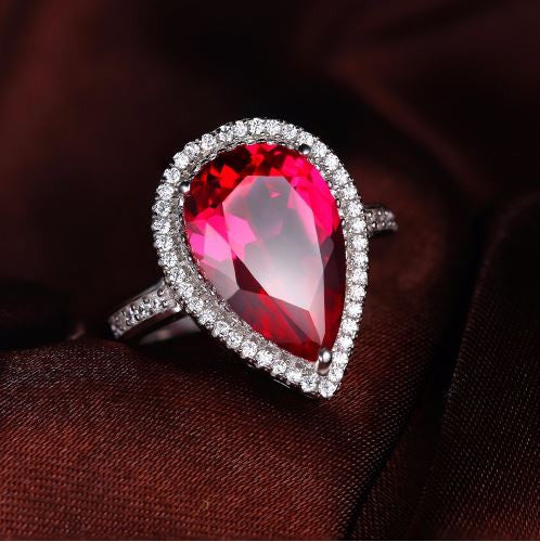 Pear Cut Ruby Ring