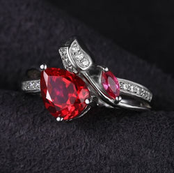 Ruby Marquise Promise Ring - Bella Artisan Jewelry