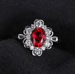 Ruby Oval Engagement Ring - Bella Artisan Jewelry
