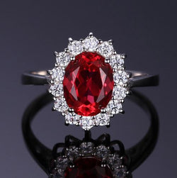 Ruby Princess Diana Style Engagement Ring - Bella Artisan Jewelry