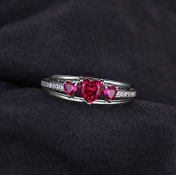 Triad Ruby Hearts Promise Ring - Bella Artisan Jewelry