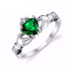 Emerald Irish Claddagh Ring - Bella Artisan Jewelry