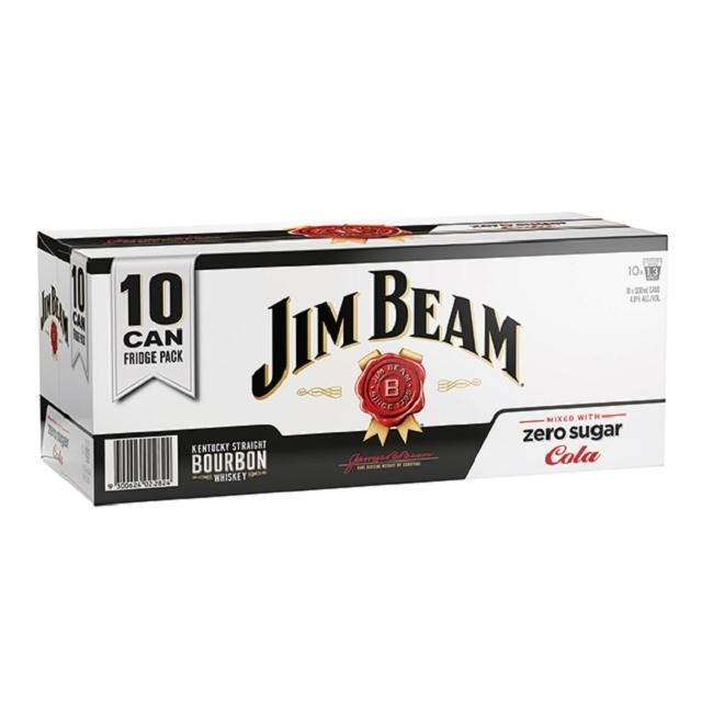 Jim Beam & Zero Cola 10 x 330ml Cans, 4.8%