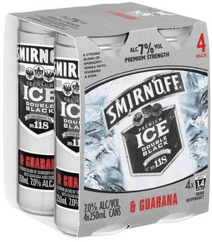 Smirnoff Ice Double Black & Guarana 4 x 250ml Cans, 7%