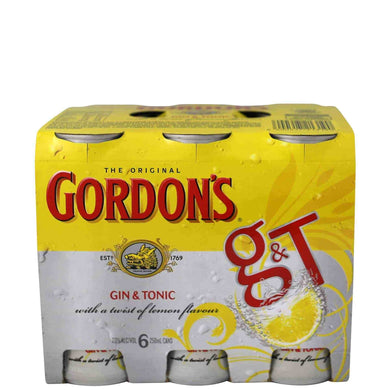 GORDONS GIN & TONIC 6 PACK CANS