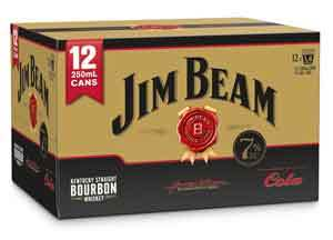 Jim Beam & Cola 12 x 250ml Cans, 7%