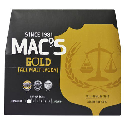 Macs Gold Lager 12 Pack Bottles 330ml