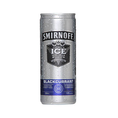 Smirnoff Double Black Blackcurrant Can 250ml 12pk