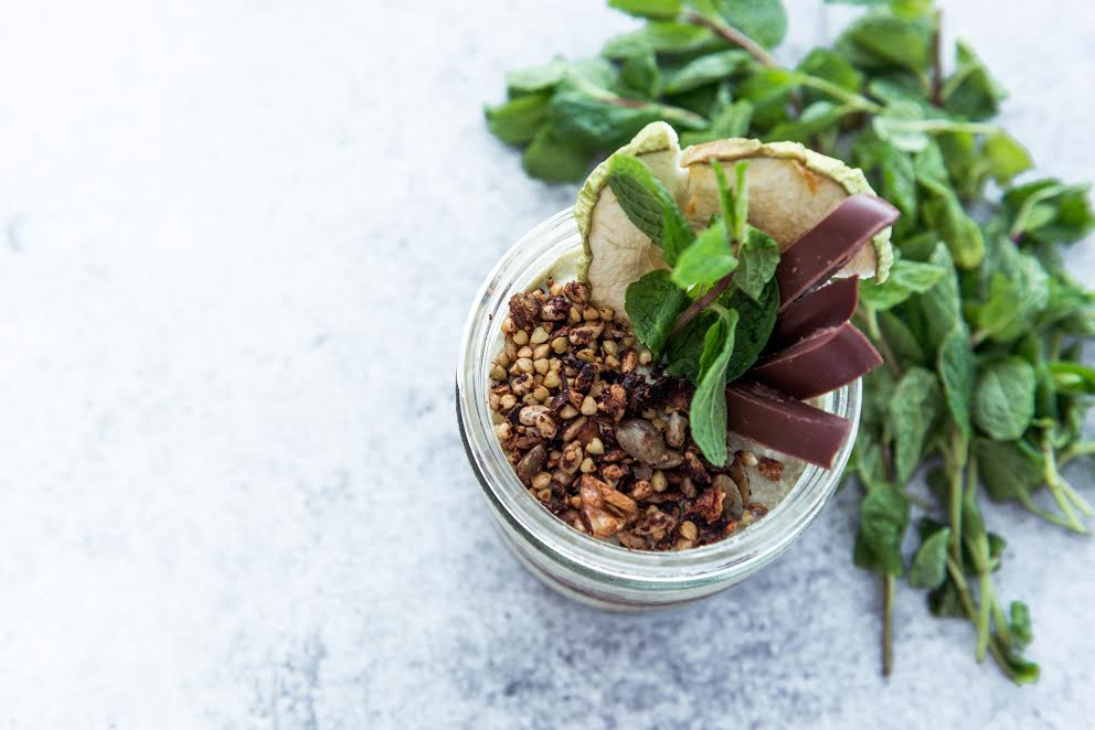 Poached Pear, Cashew and Avocado Mousse with Hemple Cacao Almond Crumble